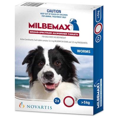 Milbemax Allwormer >5kg Dog 2 Pack