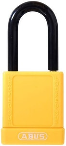 ABUS 74/40 Lock Out Tag Out (LOTO) lightweight aluminium padlock with yellow vinyl encased body keyed to differ