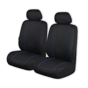 Universal Pinnacle Front Seat Covers Size 30/35 | Black/Blue Piping