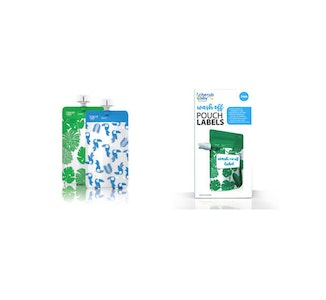 Food Pouch 120mL Mini's 10pk & Pouch Label Bundle - Toucan Blue & Rainforest Green