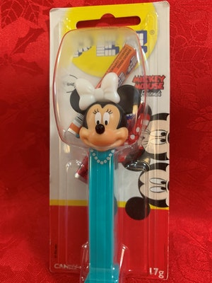 Minnie Mouse with necklace printed on blue stem PEZ Dispenser Mint on Card from Mickey Mouse and Friends collection