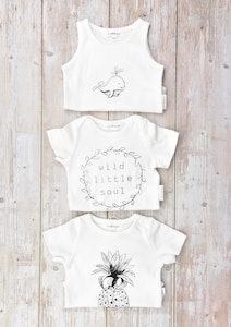 Certified Organic Cotton Bodysuits Mega Value Pack - Little Dolphin with Wild Little Soul & Pineapple