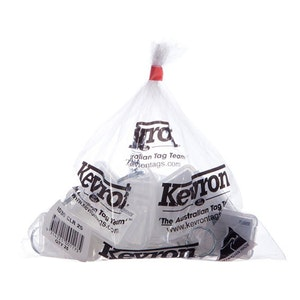 Kevron KID30 Giant Clicktag key tags, clear colour in a bag of 25