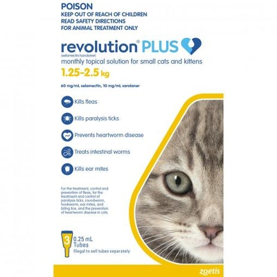 REVOLUTION PLUS Flea & Tick Treatment 1.25-2.5kg Cat 3 Pack
