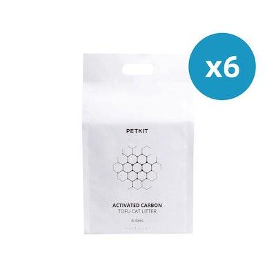 PETKIT Biodegradable And Flushable Active Carbon Tofu Cat Litter - 36L/15.9Kg (6L/2.65Kg * 6Pk)