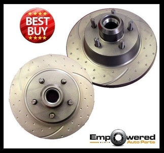 DIMPLED SLOTTED FRONT DISC BRAKE ROTORS for Ford Falcon EL non-ABS 96-98 RDA131D
