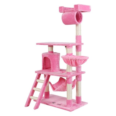 House of Pets Delight 141cm Pet Cat Tree Scratching Post Tower Pink