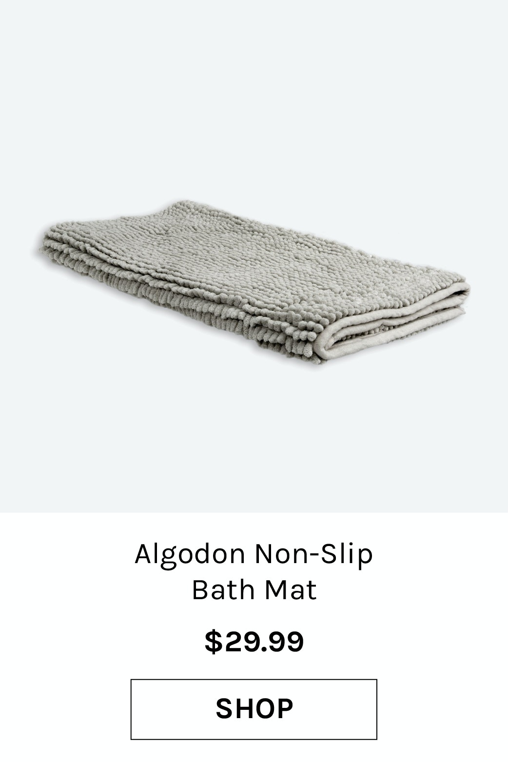 Algodon Bathroom Toggle Non-Slip Bath Mat Silver