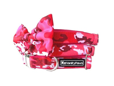 VanityPaws Pink Camouflage - Collar & Removable Bow