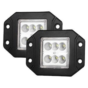 LIGHTFOX LIGHTFOX Pair 4inch Flush Mount LED Work Light Bar Flood Fog Reverse Offroad 4x4