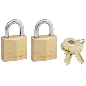 Master Lock 120T 19mm Wide Solid Brass Padlocks 2 Pack