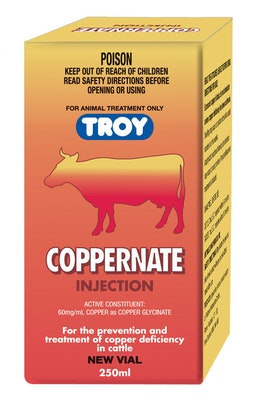 Troy Coppernate Vial for Copper Deficiency in Cattle 250ml