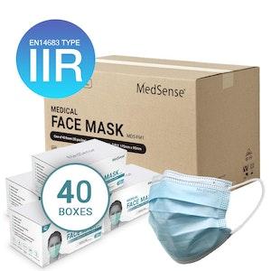 MedSense EN14683 Type IIR Disposable Medical Surgical Face Masks with Ear Loops - Carton of 40 boxes (ARTG No.: 340653)