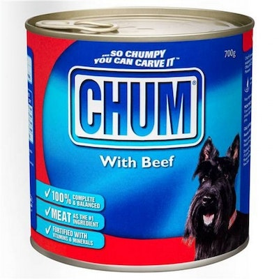 Chum With Beef Flavour Adult Dog Food 700g x 12