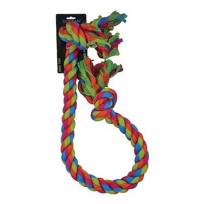 ScreamPet Scream 2-Knot Jumbo Rope Tug & Toss Interactive Play Dog Toy 120cm