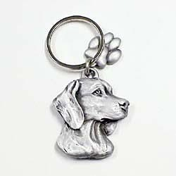 Key Companions Solid Fine Pewter Weimaraner with Paw Keychain