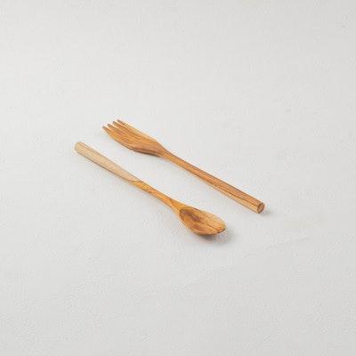 Kayu&Co. Rural Artisan Hand-Carved Spoon & Fork Set