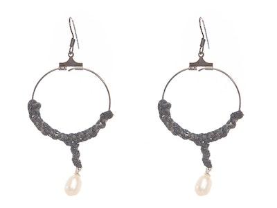 CocoKanela Catalina Hoop earrings macrame work with pearls