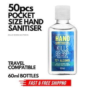 50x 60ml Pocket Hand Sanitiser Gel Anti-Bacterial 72% Alcohol Kills 99.99% Bacteria Travel BULK