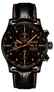 Mido Multifort Chronograph Special Edition - Stainless Steel with Black PVD - Interchangeable Black & Orange Leather Strap