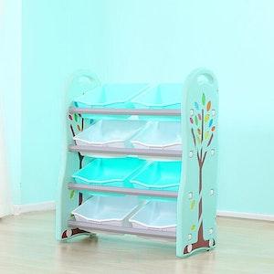 All 4 Kids 4 Tier 8 Bin Tubs Kids Toy Box Storage Unit - Blue