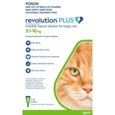 REVOLUTION PLUS Spot On Treatment for Large Cats 5-10kg Green - 2 Sizes