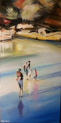 Virginia Bucknell Artworks Quality Print of Original Oil painting of Clovelley Beach