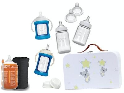 Glass Baby Bottles Starter Kit Bundle & Warmer - Blue