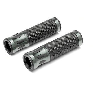 Oval Cut Aluminium Grips - Gun Metal Grey