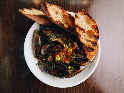 Local Mussel with Miso Butter, Spring Onion, Togarashi