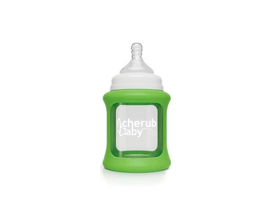 Colour Change Glass Bottles Wide Neck 150ml Single Pack + Green Silicone Sleeve