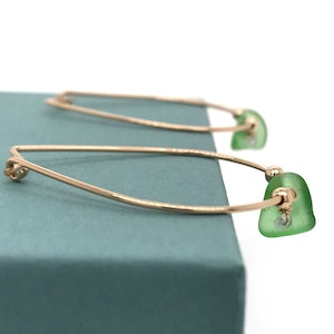 Lime Green Seaglass Earrings – Gold Hoops with Aquamarines