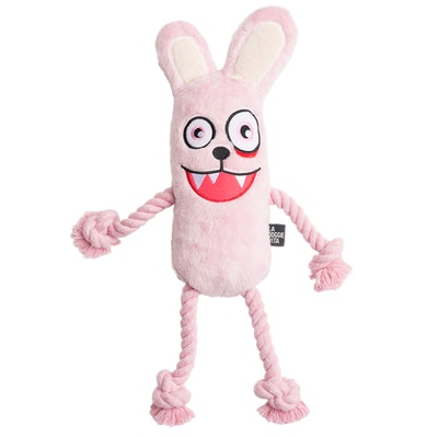 La Doggie Vita Psycho Bunny Plush Rope Toy With Squeaker