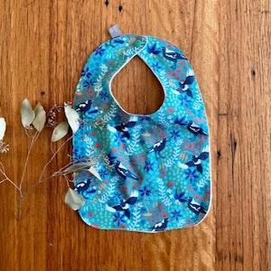 bib - turquoise magpies / eco friendly / organic cotton hemp fleece / baby shower gift / Australian bird teal green flowers