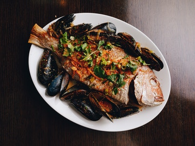 Roasted Local Port Phillip Snapper with Mussels, Miso Butter, Spring Onion, Togarashi