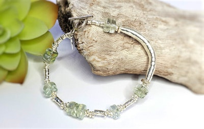 Uniqu-Lea Yours Beautiful Green Amethyst and Hill Tribe Silver Bracelet