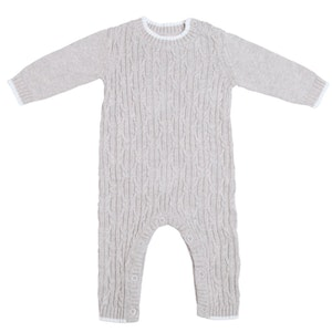 Jujo Baby Lattice Cable Onesie - Silver