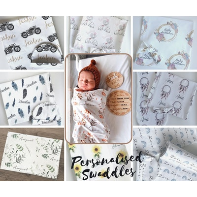 On Chic Baby Clothes Personalised Swaddle Sacks – Birth Announcement Set – Organic Jersey Cotton