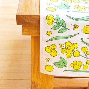 Golden Wattle Botanical Table Runner in Linen / Cotton