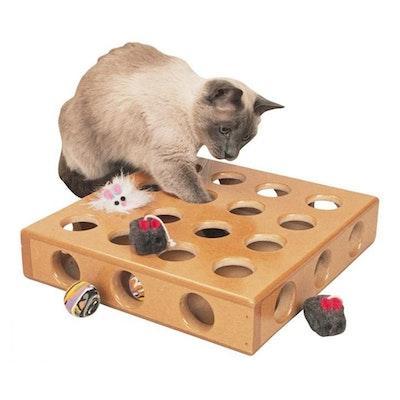 SmartCat Peek-A-Prize Wooden Cat Toy Box 34 x 34 x 8cm