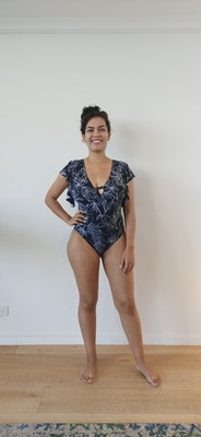 Beach Lovers Bikini One Piece   Ruffle Shoulder Cupped In Black And White Floral Print
