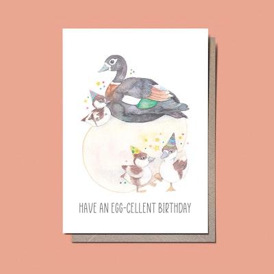 Watercolour by Cat Watercolour Birthday card Australian shelduck // ducks // Have an egg-cellent birthday