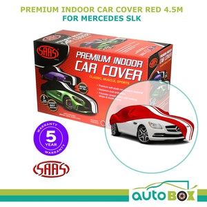 SAAS TWIN STRIPE RED INDOOR DUST SHOW CAR COVER MEDIUM 4.5m fits Mercedes SLK