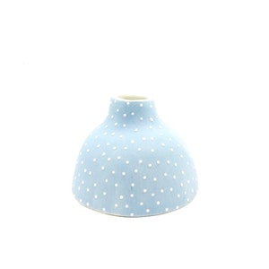 Ceramic Bud Vase - Dotty - Short - Dusty Blue