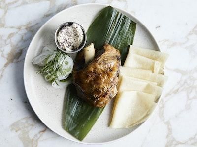 Shiso Lamb Shoulder, Mandarin Pancakes, Pickles & Caramalised Yoghurt