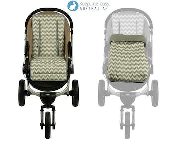 Keep Me Cosy™ Pram Liner + Footmuff 2 in 1 Set (Infant) – Grey Chevron