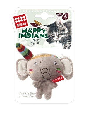 GIGWI Happy Indians Melody Chaser Elephant Interactive Cat Toy