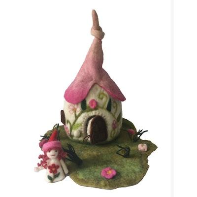 SparksJoi Pretty Handmade Felt Fairy House and Fairy doll