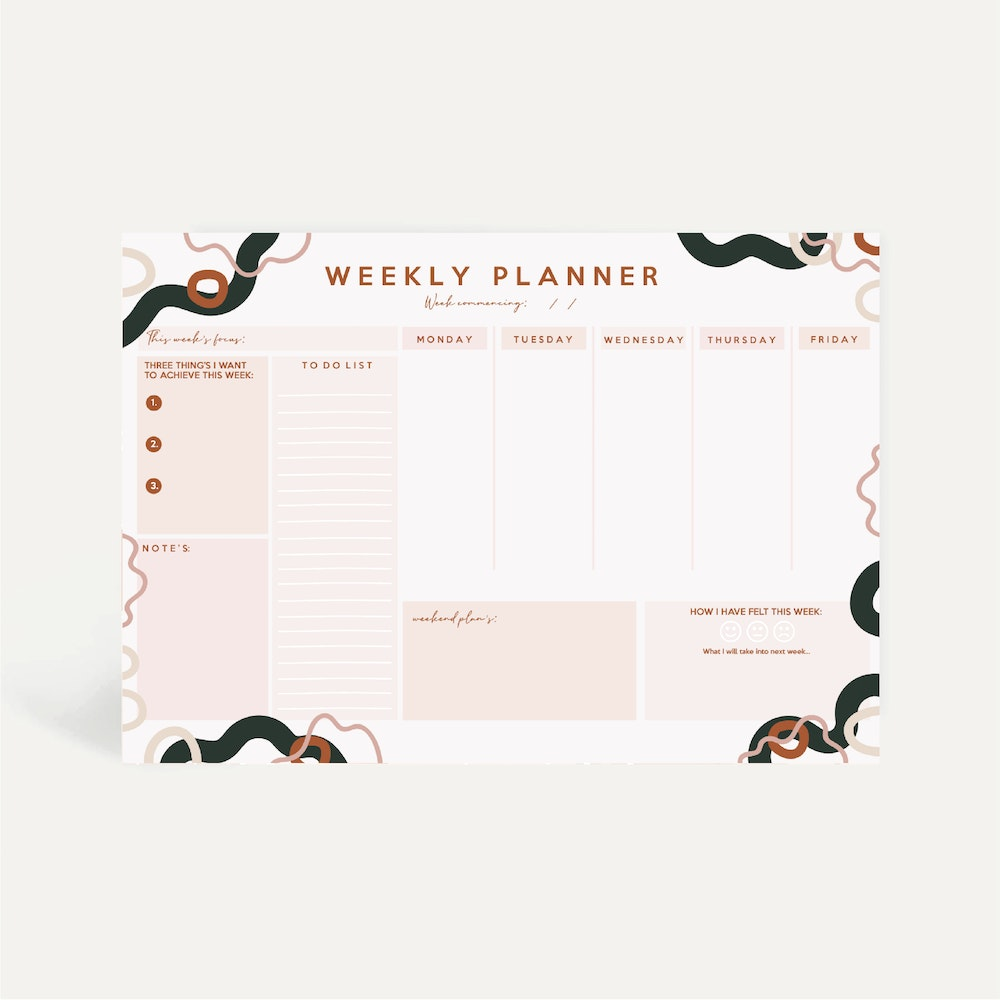Brew Norfolk A4 Weekly Planner Pad With Abstract Design