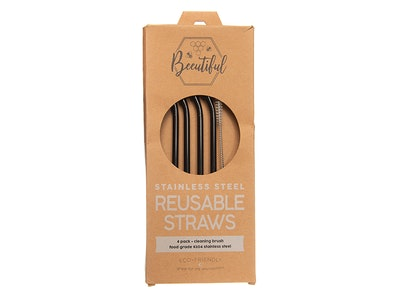 Beeutiful Rose Gold Stainless Straws 4 pack Bent (Limited Edition)